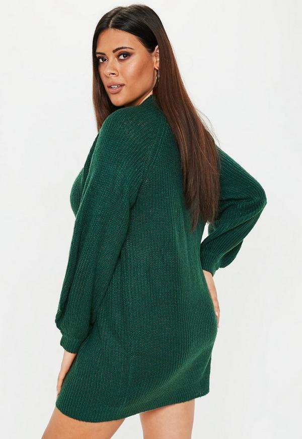 Plus Size Green Oversized Jumper Dress Missguided