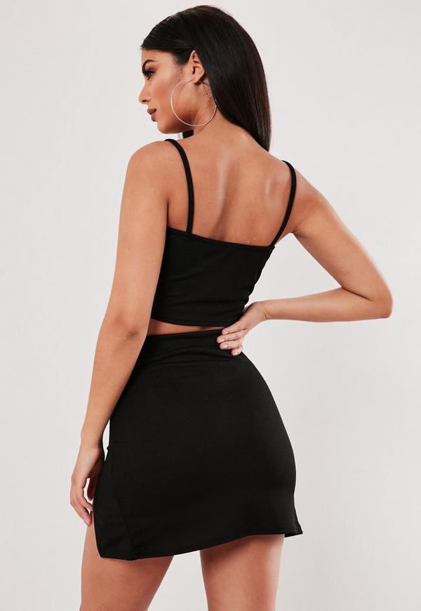 f8bf2cd1b2fa1 ... Black Cami Crop Top And Split Mini Skirt Co Ord Set. Previous Next