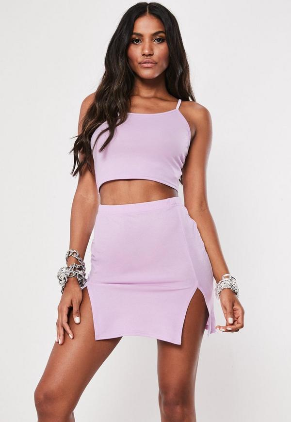 9e4ba867ac236 Lilac Cami Crop Top And Split Mini Skirt Co Ord Set