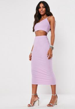 f5d4984b35 Lilac Sweetheart Crop Top And Midi Skirt Co Ord Set