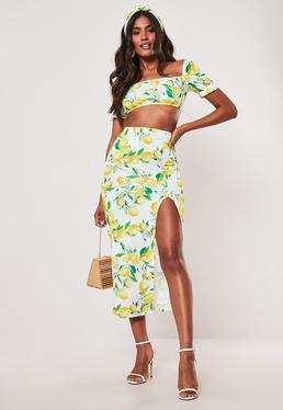 f225814222 Yellow Lemon Print Milkmaid Top And Midaxi Skirt Co Ord Set