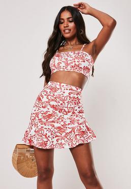 64d5d138a9 Red Porcelain Print Crop Top Asymmetric Ruffle Skirt Co Ord Set