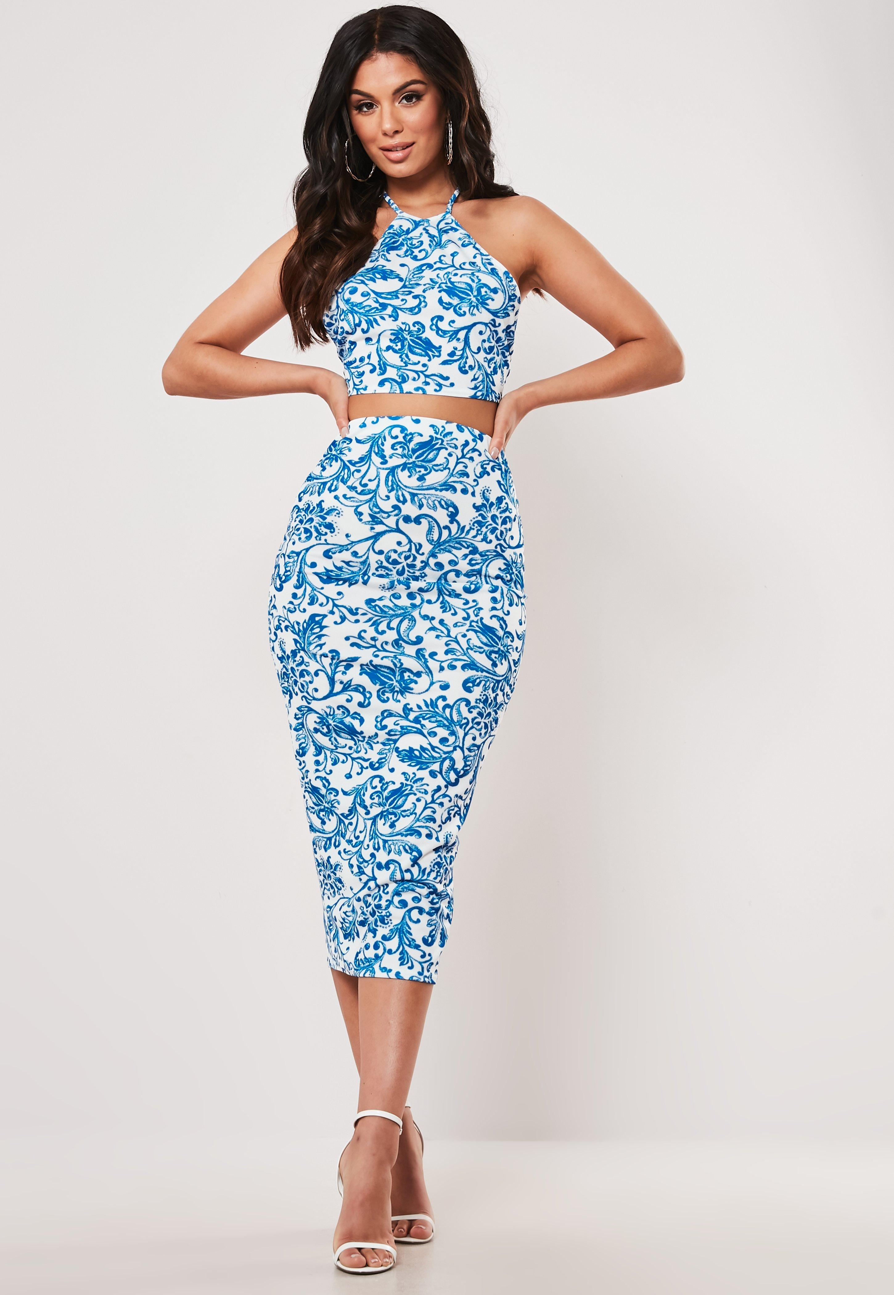 Blue Porcelain Print Crop Top And Midaxi Skirt Co Ord Set by Missguided