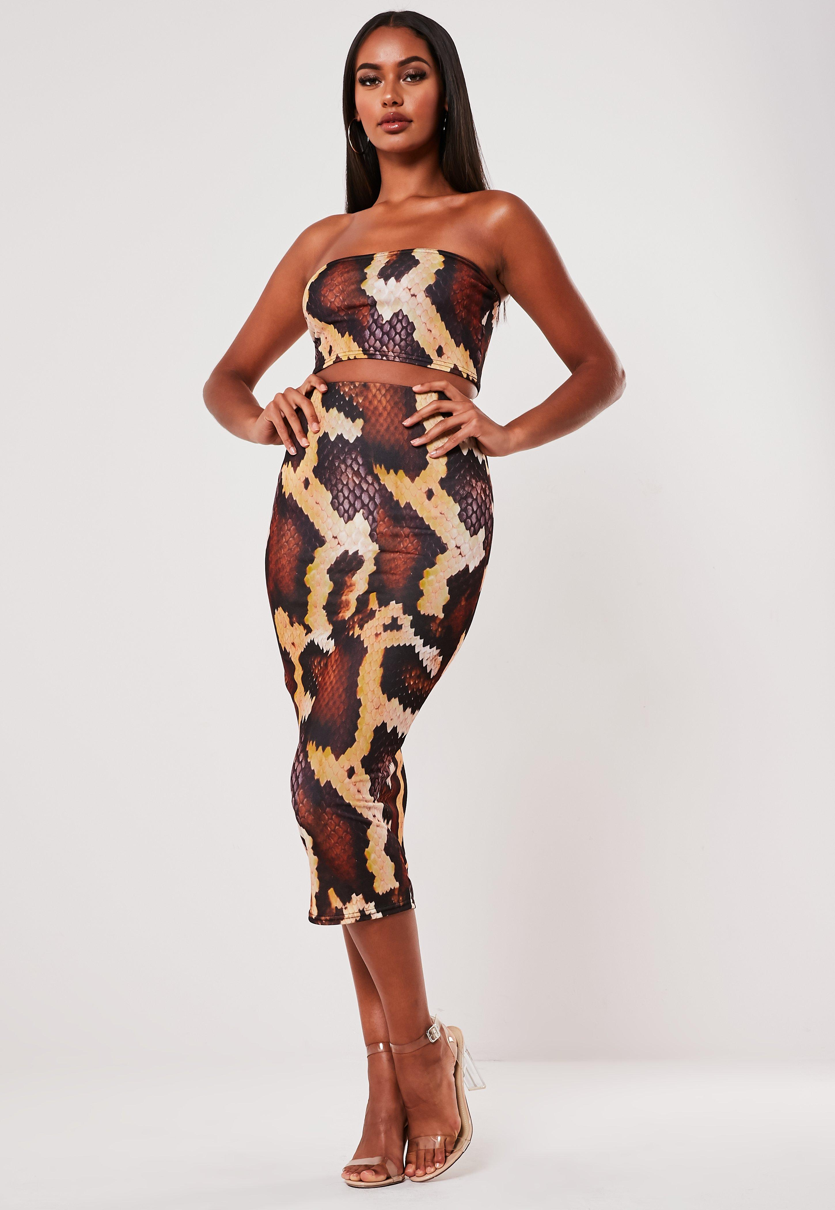 8ace04e74b3 Brown Snake Print Bandeau And Bodycon Midi Skirt Co Ord Set