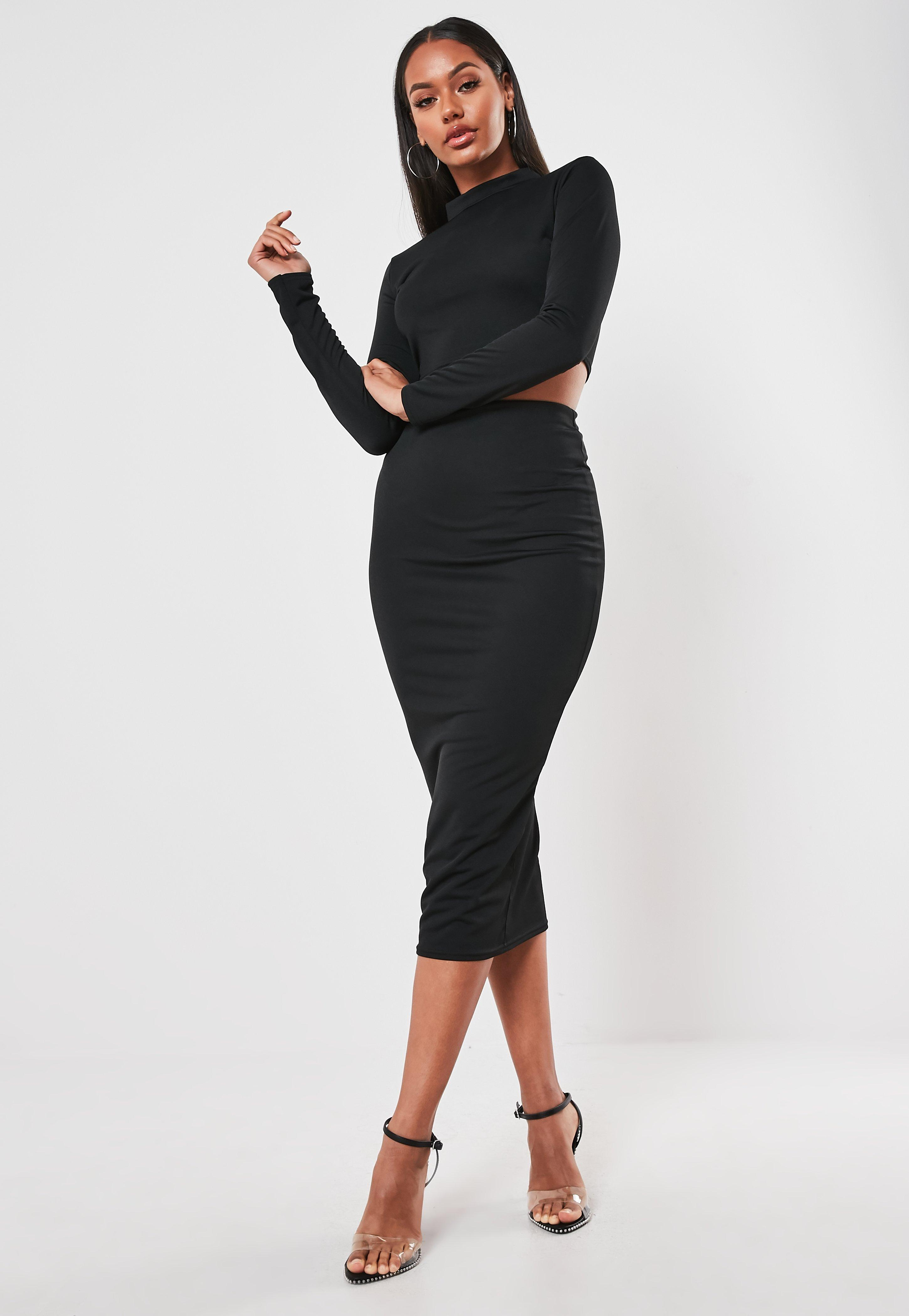 2018 sneakers dependable performance hot-seeling original Black High Neck Top And Midi Skirt Co Ord Set