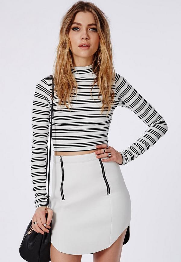 Neoprene Zip Detail Mini Skirt White