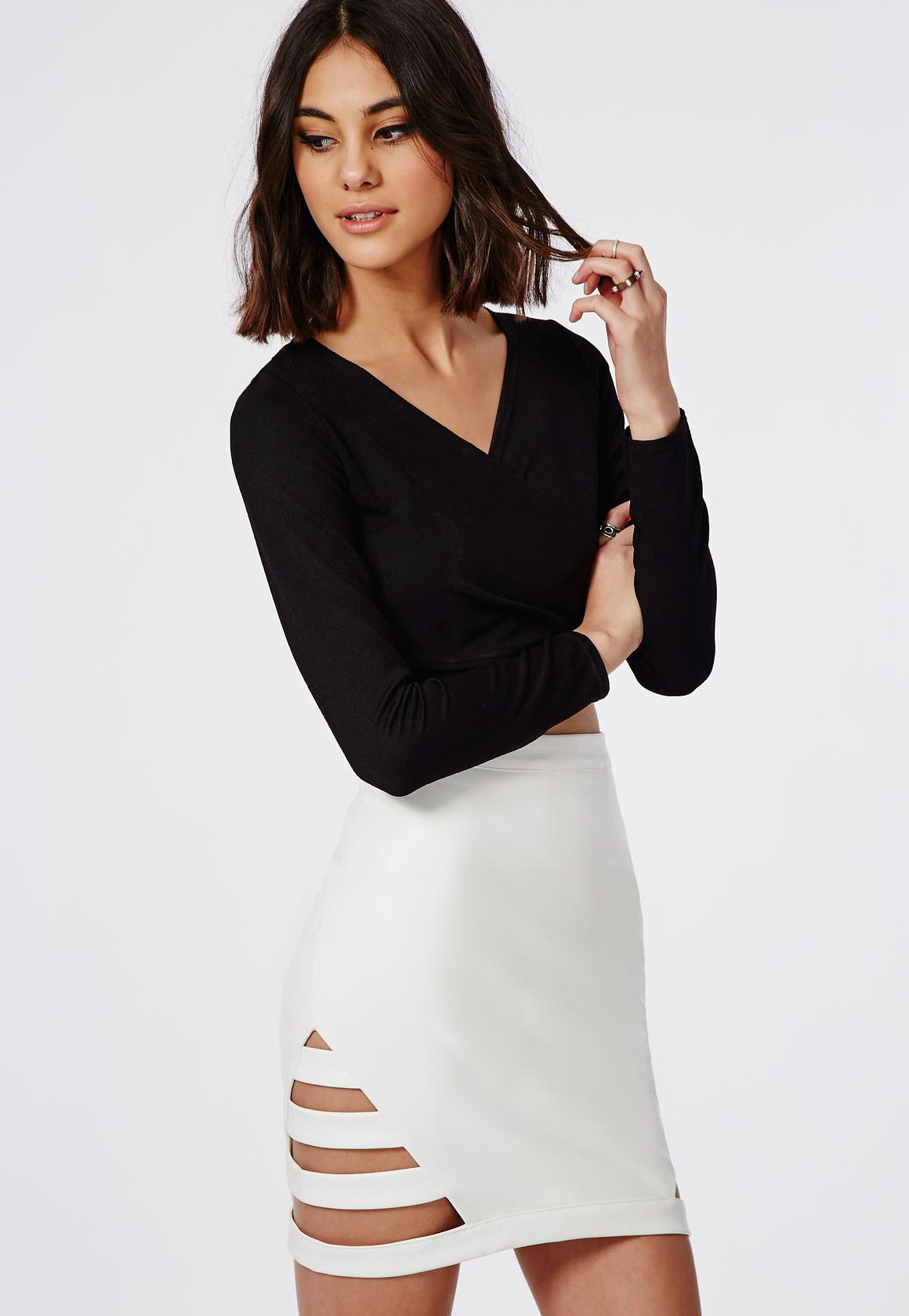Cage Side Faux Leather Mini Skirt White - Skirts - Missguided