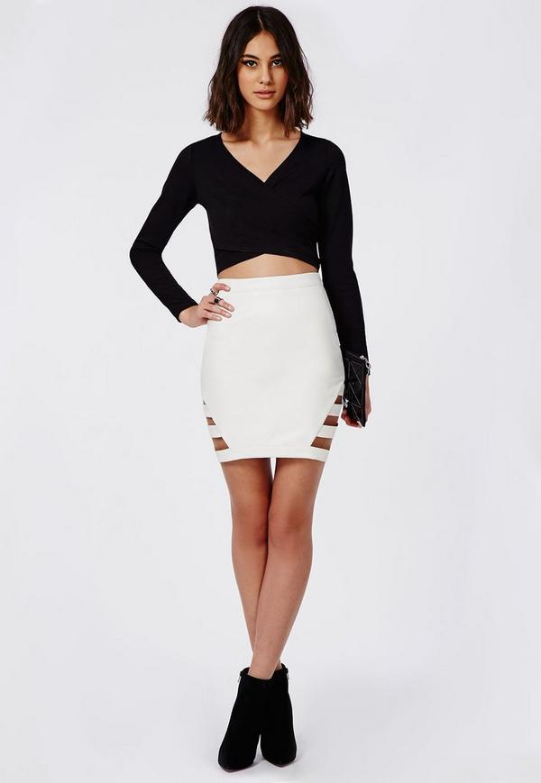 White Leather Mini Skirt 4