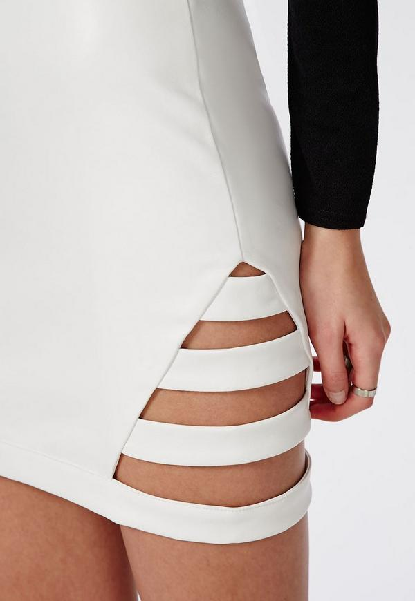 cage side faux leather mini skirt white missguided