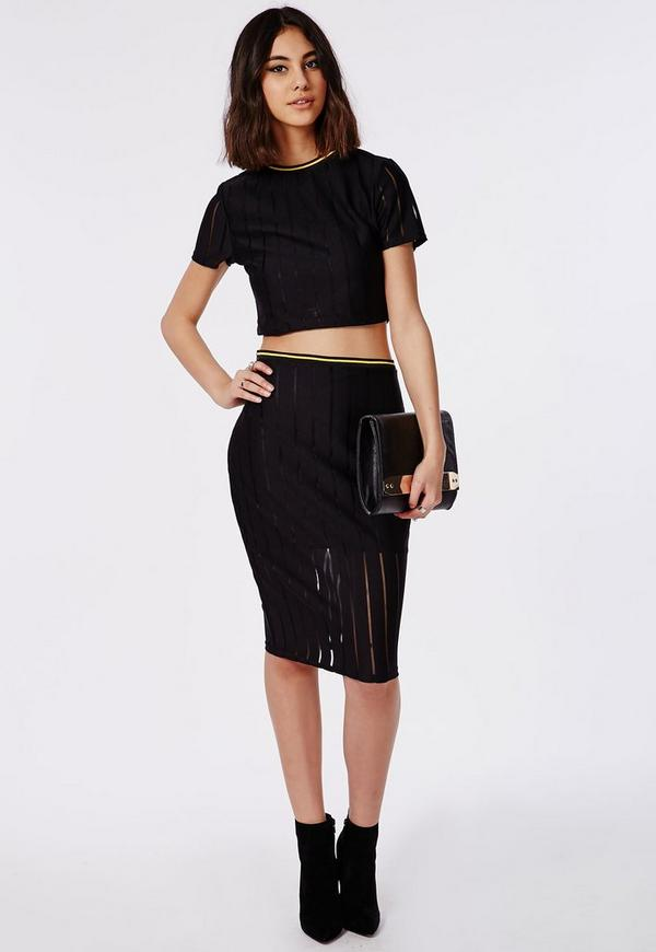 Sports Ribbed Midi Skirt Black