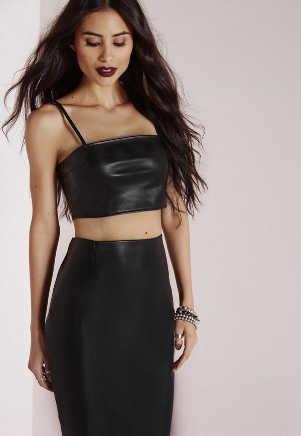 Faux Leather Bralet Black