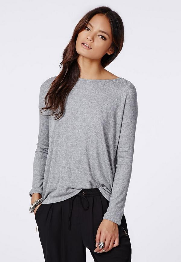 Simi Long Sleeve Ribbed Jersey Top Grey