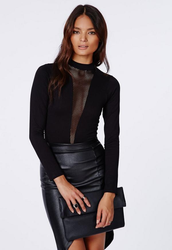 Marah Mesh Insert Long Sleeve Bodysuit