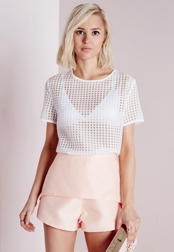 Gingham Shell Top White