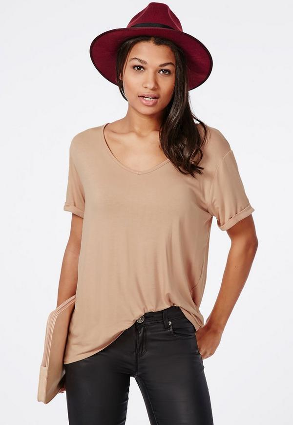 Boyfriend V Neck T Shirt Nude