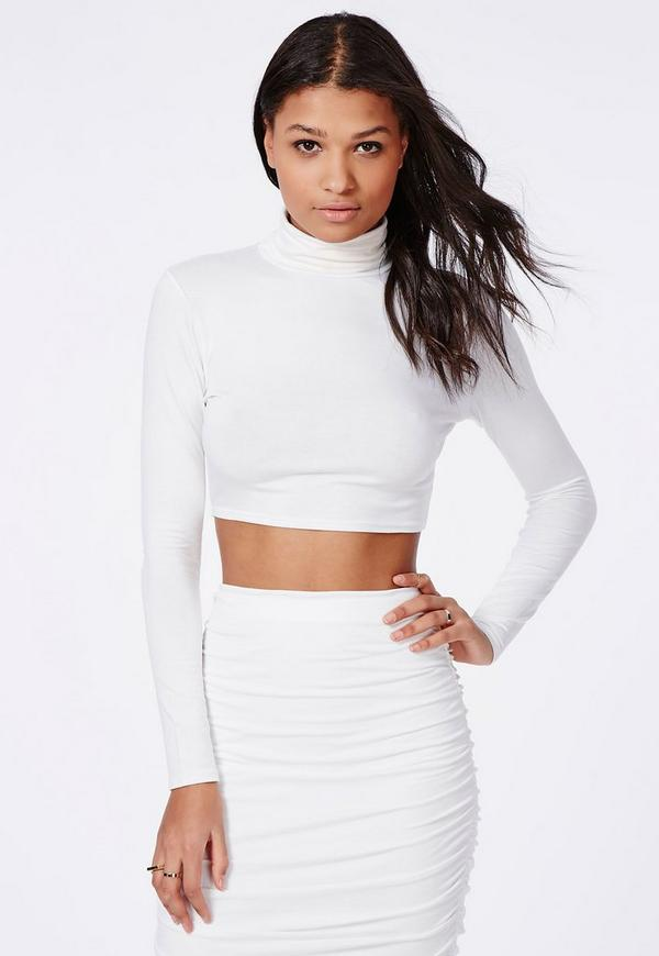 Roll Neck Long Sleeve Crop Top White