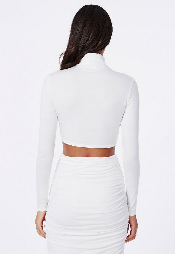 Roll Neck Long Sleeve Crop Top White | Missguided