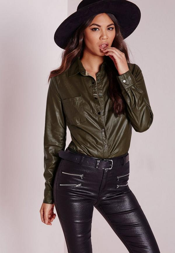Faux Leather Shirt Khaki