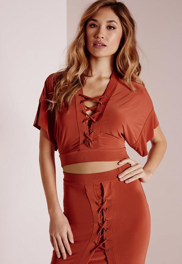 Slinky Lace Up Crop Top Rust