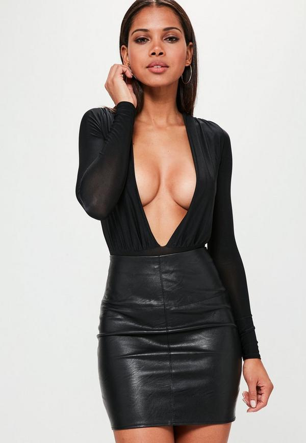 Slinky Deep Plunge Bodysuit Black 16 Missguided