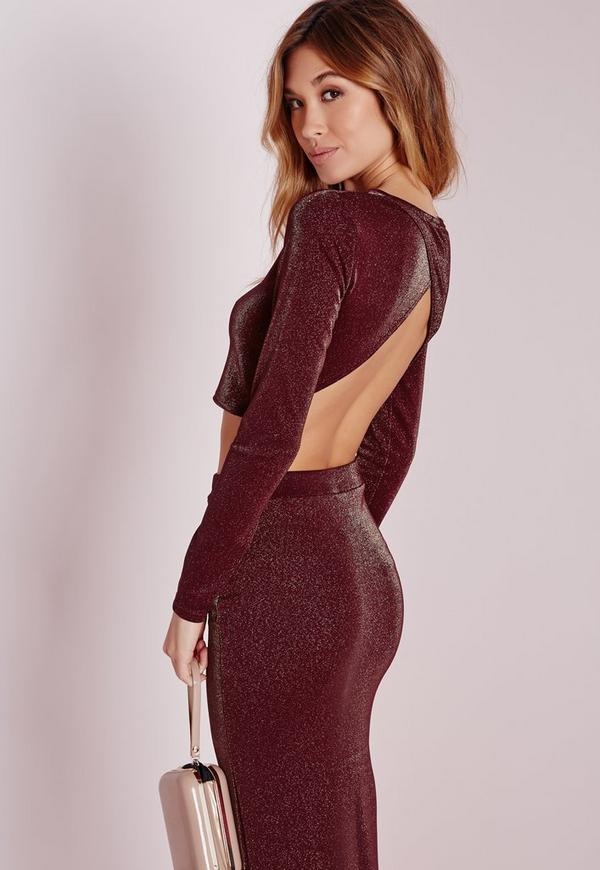 Open Back Gold Lurex Crop Top Burgundy
