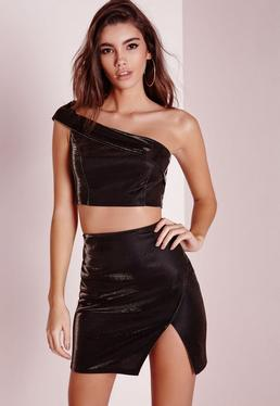 One Shoulder Metallic Bralet