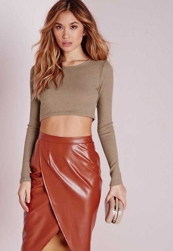Knitted Ribbed Crop Top Brown