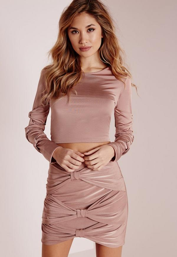 Slinky Detailed Tie Sleeves Crop Top Rose Pink