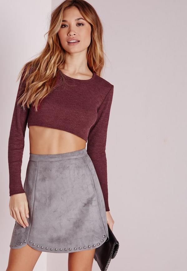 Knitted Ribbed Crop Top Burgundy