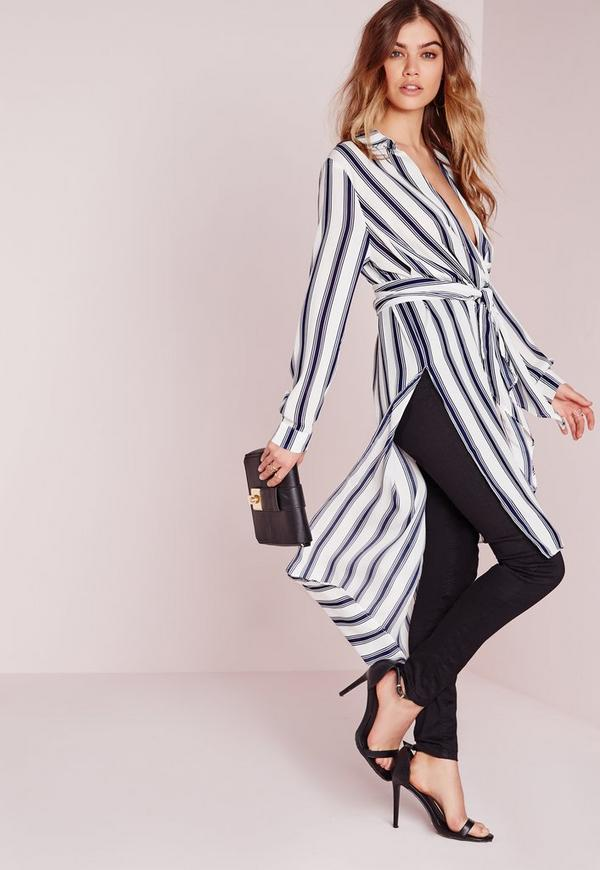 Tie Wrap Longline Shirt White/Blue Stripe