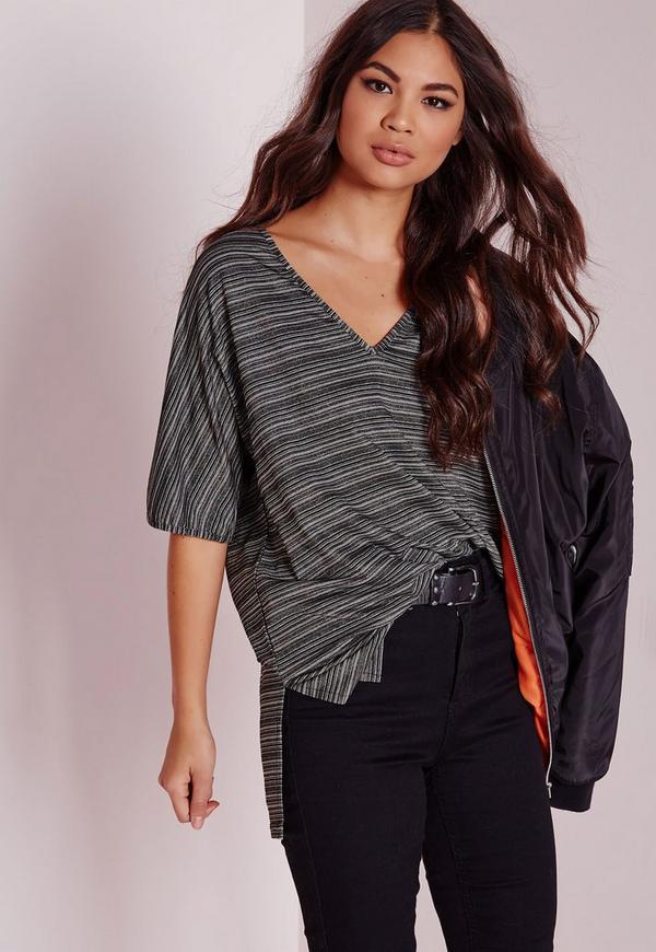 Metallic Stripe T Shirt Grey