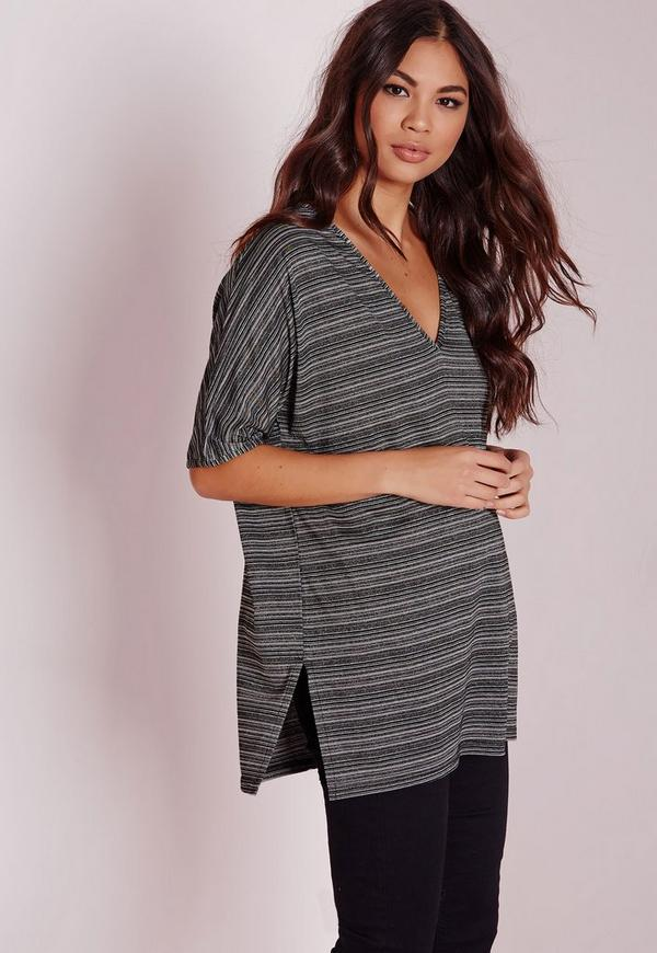 Metallic stripe t shirt grey missguided for Grey striped t shirt