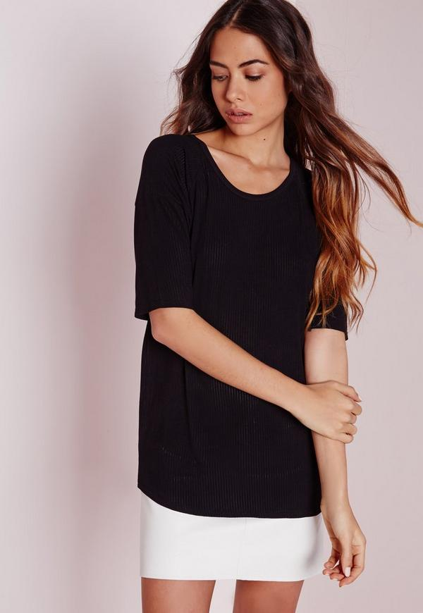 Vertical Sheer Stripe T Shirt Black