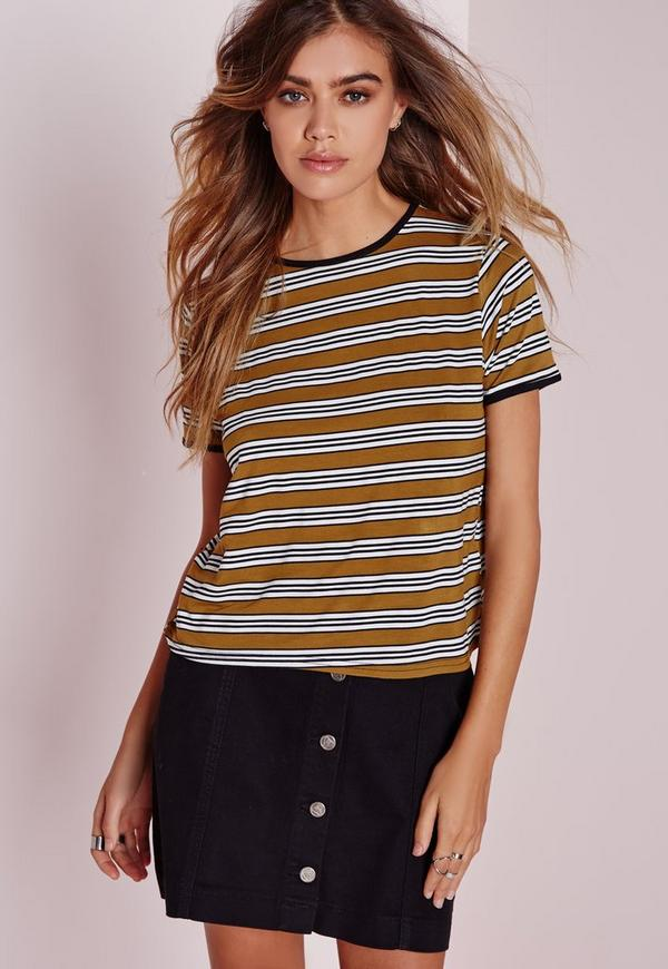 Multi Stripe T Shirt Mustard