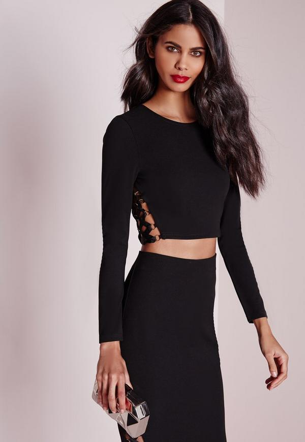 Lace Up Detail Long Sleeve Crop Top Black