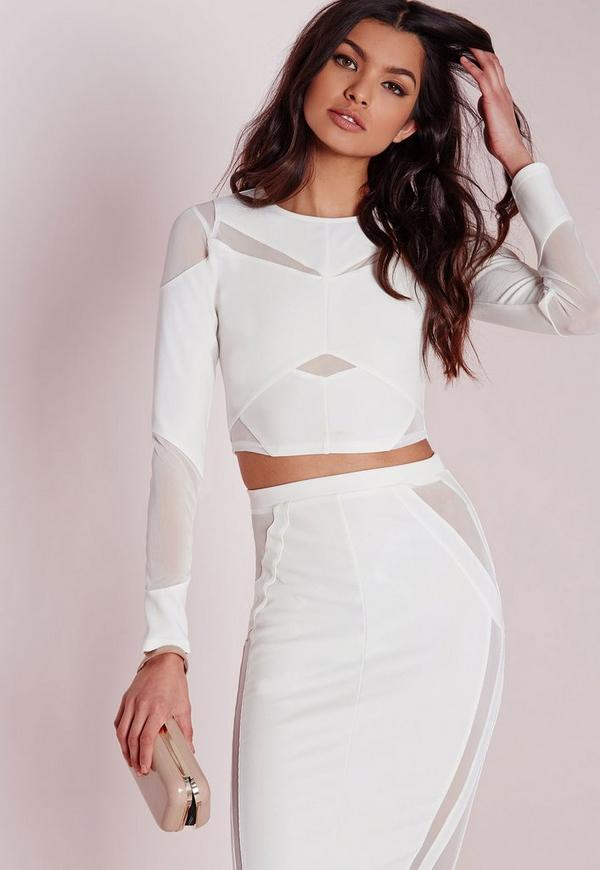 Mesh Panelled Long Sleeve Crop Top White