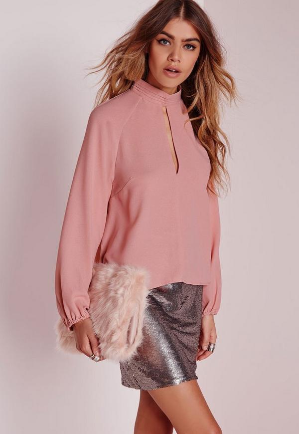 Keyhole Pintuck Blouse Rose Pink