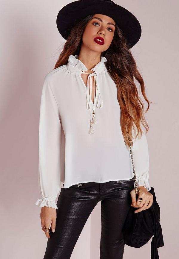 Ruffle Collar Tie Blouse Ivory