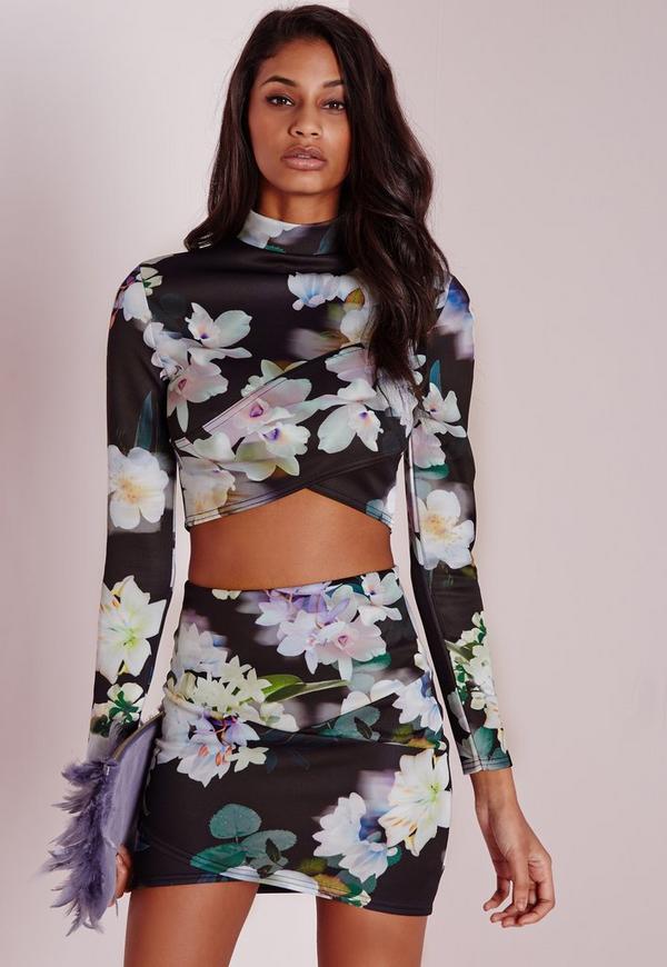 Floral Wrap Front Scuba Crop Top Black