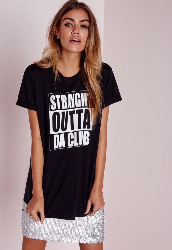 Straight Outta Da Club T Shirt Black