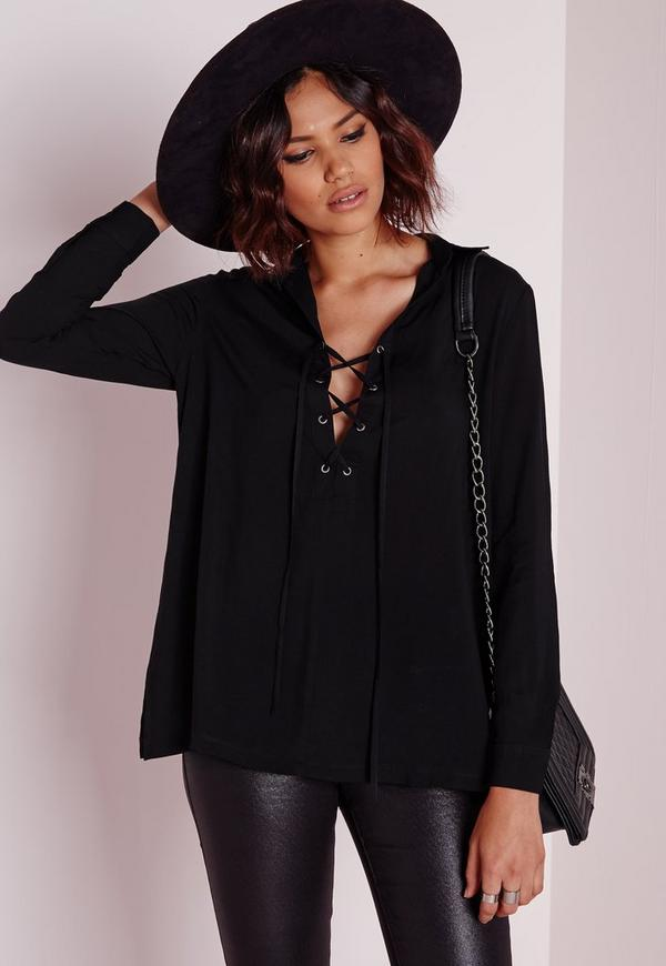 Lace Up Shirt Black