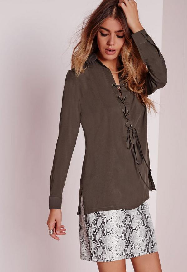 Pocket Lace Up Shirt Khaki