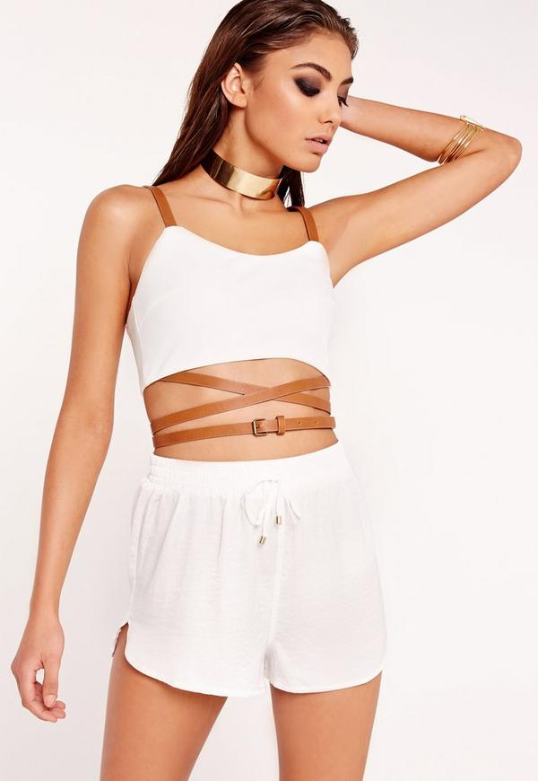 Belted Strap Bralet White