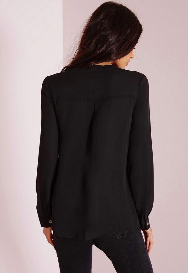 Lace Up Chiffon Blouse Black Missguided