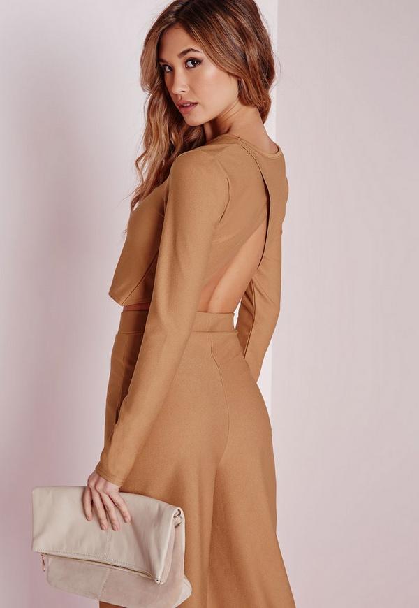 Wrap Back Long Sleeve Crop Top Camel