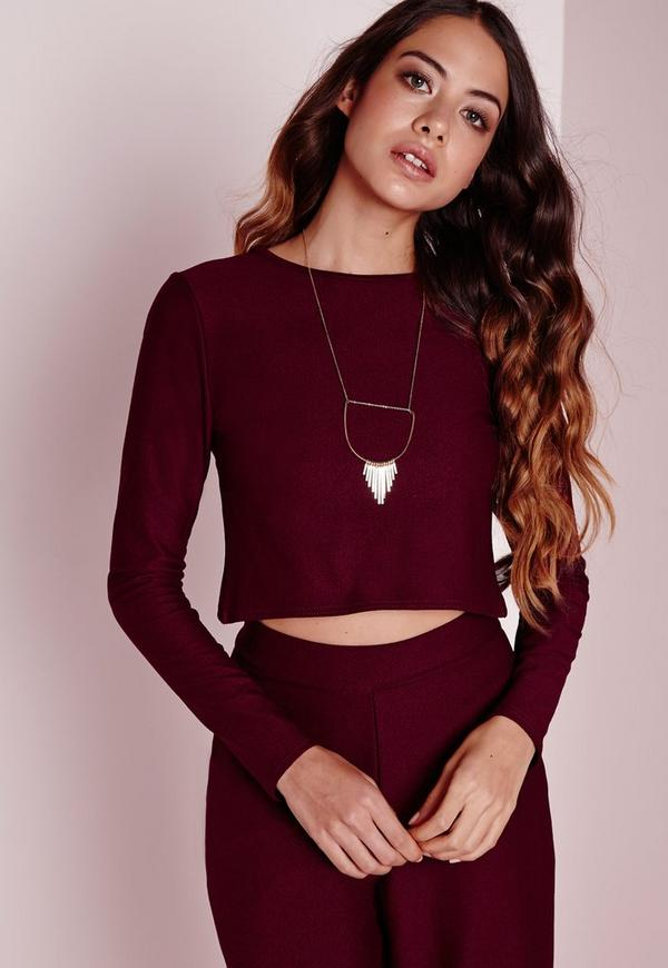 Long Sleeve Wrap Back Crop Top Burgundy