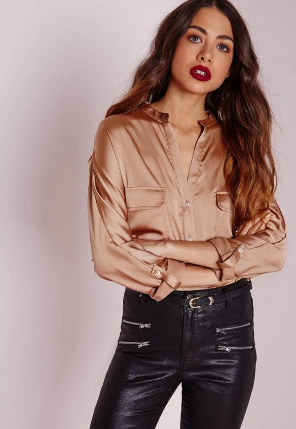 Silky Pocket Detail Shirt Gold