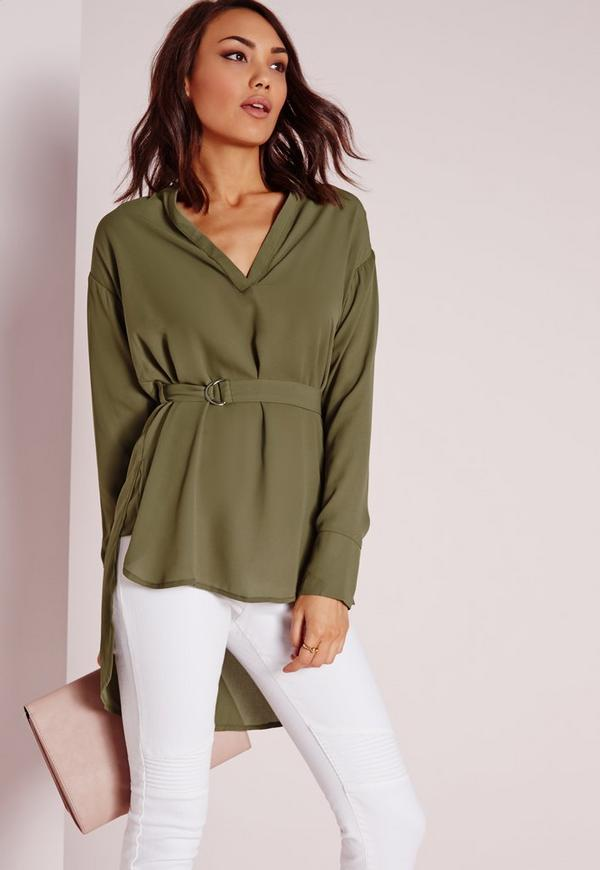Belted D Ring Blouse