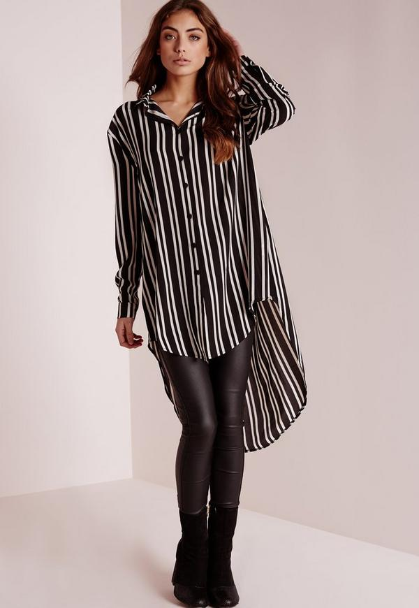 Striped Longline Blouse Black