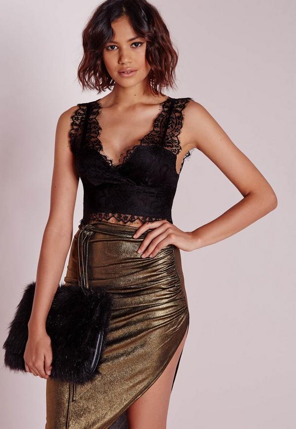 Longline Lace Bralet Black